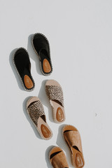 Flat Lay of all 3 colors of Espadrille Slide Sandals