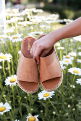 Espadrille Slide Sandals in Tan Front View