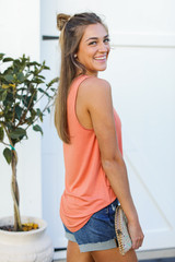 Everyday Jersey Tank in Orange Side View