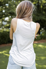 Everyday Jersey Tank in White Back View