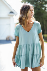 Mint - Model wearing a Tiered Babydoll Top