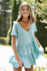 Mint - Dress Up model wearing a Tiered Babydoll Top