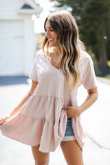 Blush - Tiered Babydoll Top Front View