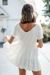 Tiered Babydoll Top in White Back View
