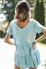 Tiered Babydoll Top in Mint Back View