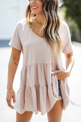 Tiered Babydoll Top in Blush Front View