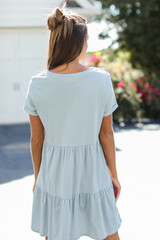 Tiered Babydoll Dress in Denim Back View