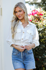 White - Cropped Linen Blouse Front View