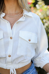 White - Cropped Linen Blouse Front View on model