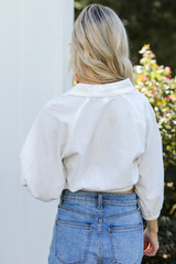 Cropped Linen Blouse in White Back View