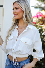 Cropped Linen Blouse in White Side View