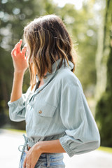Blue - Cropped Linen Blouse from Dress Up