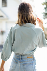Cropped Linen Blouse in Blue Back View