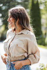 Cropped Linen Blouse in Khaki Side View
