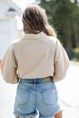 Cropped Linen Blouse in Khaki Back View