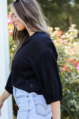 Button-Up Top in Black Side View