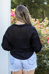 Button-Up Top in Black Back View