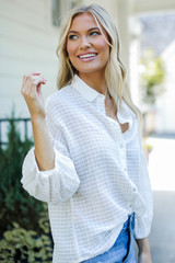 Button-Up Top in White Side View