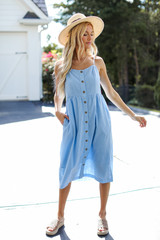 Light Blue - Button Front Midi Dress from Dress Up