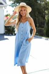 Dress Up model wearing a Button Front Midi Dress