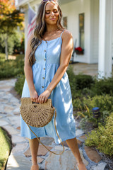Model wearing a Button Front Midi Dress