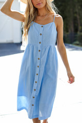 Close Up of a Button Front Midi Dress
