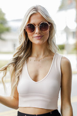 Peach - Model wearing a V-Neck Ribbed Cropped Tank with sunglasses