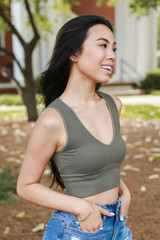 V-Neck Ribbed Cropped Tank in Olive Side View