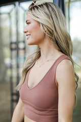 V-Neck Ribbed Cropped Tank in Cognac Side View