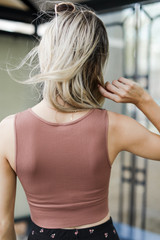 V-Neck Ribbed Cropped Tank in Cognac Back View