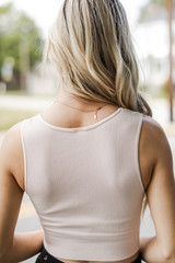 V-Neck Ribbed Cropped Tank in Peach Back View