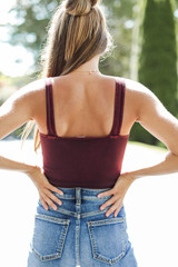 Cropped V-Neck Ribbed Tank in Wine Back View