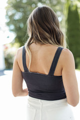 Cropped V-Neck Ribbed Tank in Charcoal Back View