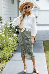 Olive - Ruched Midi Skirt from Dress Up