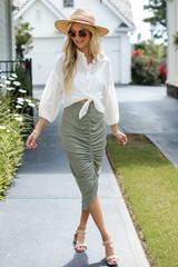 Ruched Midi Skirt in Olive Front View