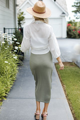 Ruched Midi Skirt in Olive Back View