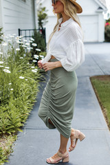 Ruched Midi Skirt in Olive Side View