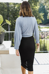 Ruched Midi Skirt in Black Back View