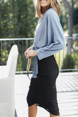 Ruched Midi Skirt in Black Side View