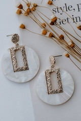 White - Shell Drop Earrings from Dress Up