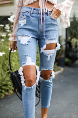 Distressed Mom Jeans Front View