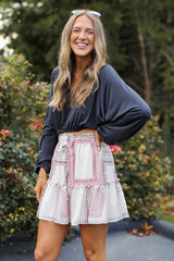 Model wearing a Floral Mini Skirt
