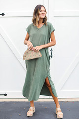 Green - T-Shirt Maxi Dress Front View on model