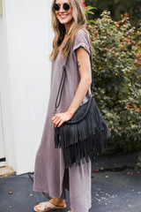 T-Shirt Maxi Dress in Lavender Side View