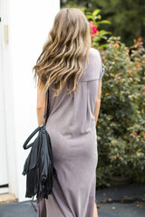 T-Shirt Maxi Dress in Lavender Back View