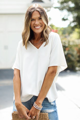 White - Oversized Blouse Front View