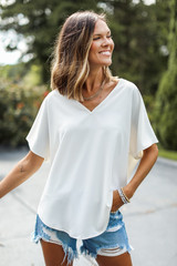 White - Oversized Blouse Front View on model