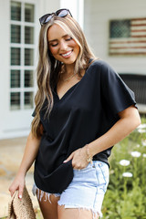 Oversized Blouse in Black Front View