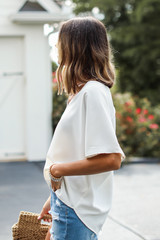 Oversized Blouse in White Side View