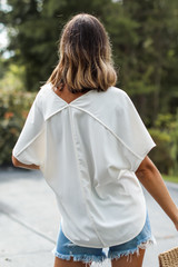 Oversized Blouse in White Back View